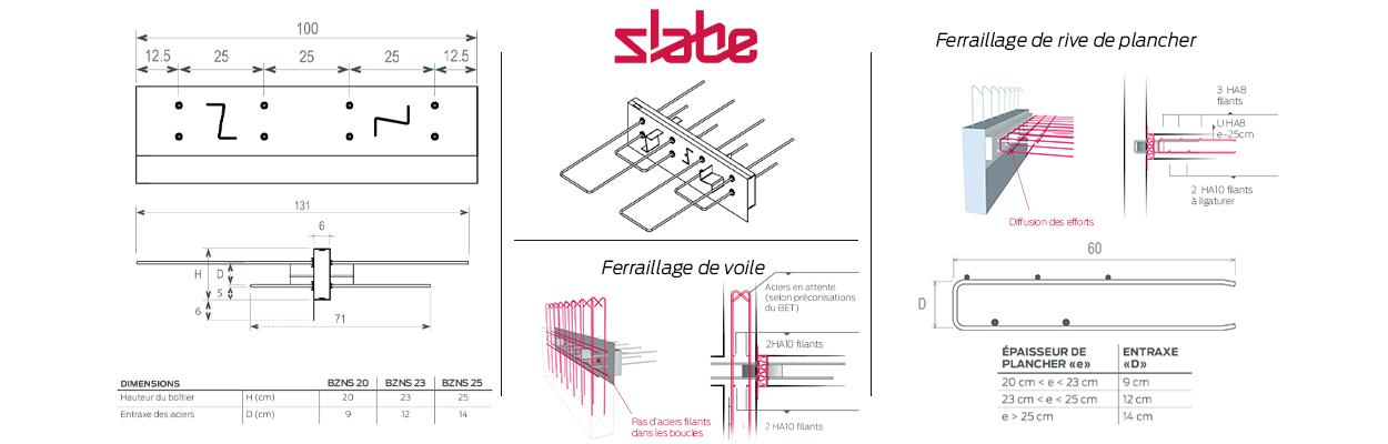 Le rupteur de ponts thermiques parasismique de balcon Slabe BZNS, caractéristiques.