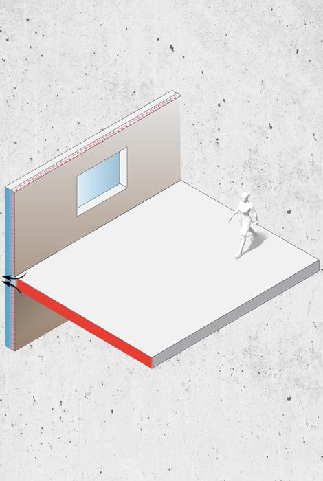 Exemple de pont thermique généré par l'absence d'isolant entre la dalle de plancher et le mur extérieur.