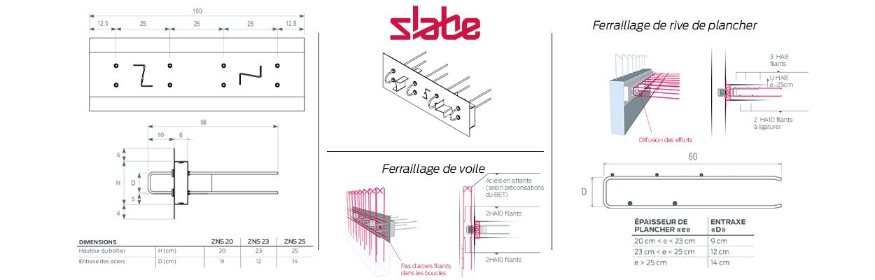 Le rupteur de ponts thermiques parasismique Slabe ZNS est le plus puissant des rupteurs de la gamme Slabe.
