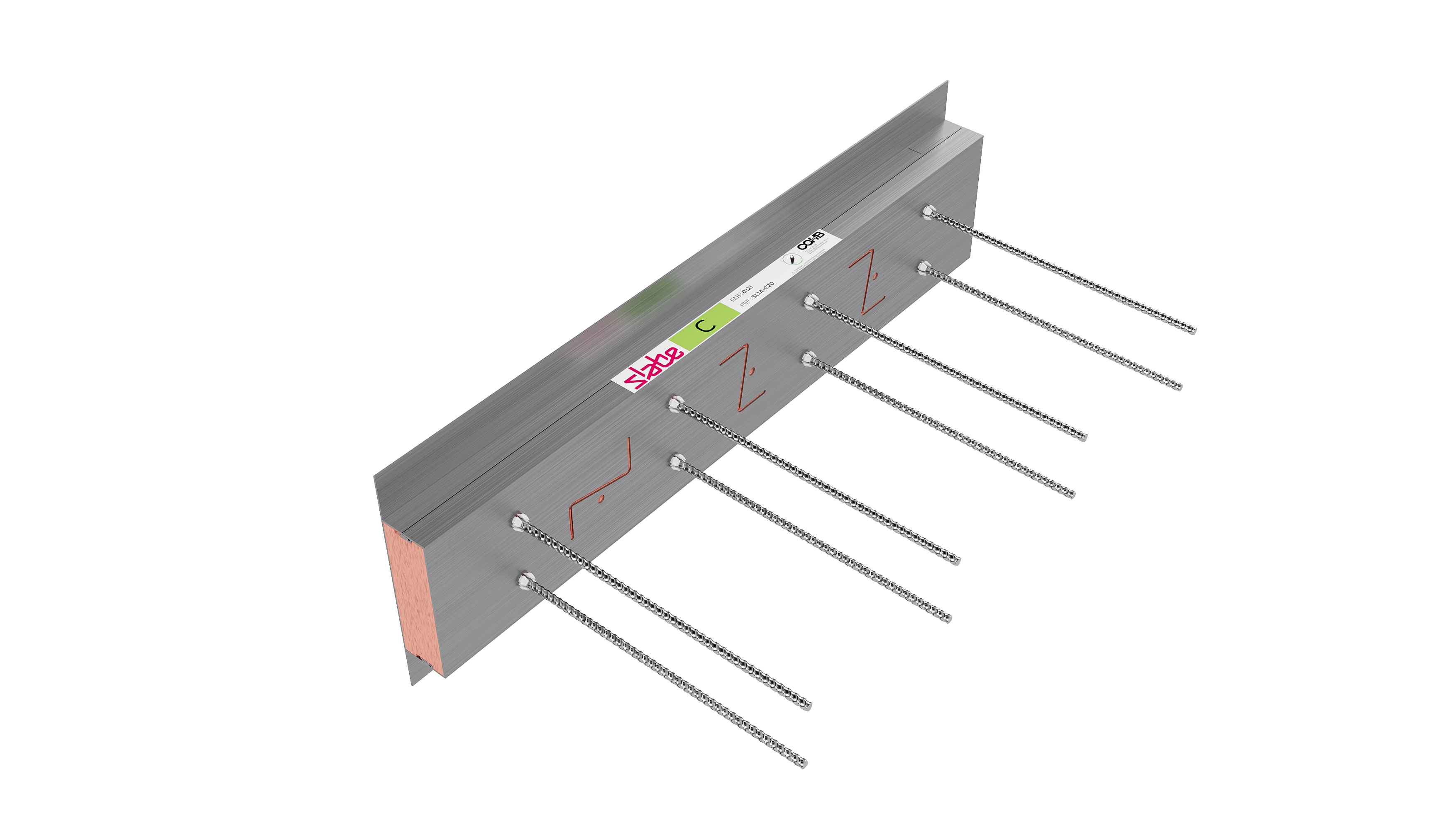 Le rupteur de ponts thermiques de compensation Slabe C complète les linéaires des rupteurs Slabe Z et ZN.